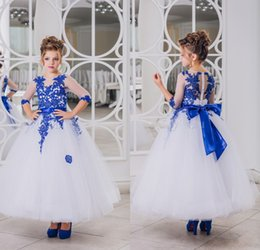 Wholesale New Girls Christening Gown - 2017 New Lovely Royal Blue Lace Appliques Flower Girl Dresses Half Sleeve With Bow Sash Ankle Length Girl Pageant Prom Party Gowns