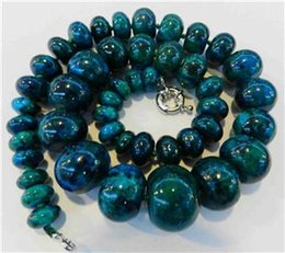 Wholesale 14k Gold Beaded Necklace - Natural Bead GEMS STONE Natural Charming!! 10-20mm Azurite Phoenix Stone Roundel Beads Necklace
