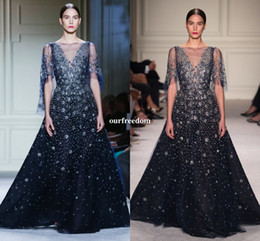 Wholesale Elie Saab Custom Made - Elie Saab Shining Star Sequins Evening Dresses 2017 Sheer Jewel Neck Dark Navy Tulle Crystal Beaded Prom Pageant Occasion Dresses Custom