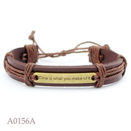 Wholesale Make Leather Cuff Bracelets - (10PCS lot) TIME IS WHAT YOU MAKE OF IT CHARM Adjustable Leather Cuff Friendship Bracelet for Men & Women Friendship Casual Jewelry