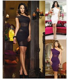 Wholesale One Shoulder Asymmetrical - Hot sell one- shoulder short sleeve panelled mesh dress,sexy club and party beautiful dresses of girl and ladys