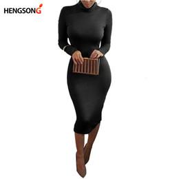 Wholesale Wholesale Club Wear Dresses - Wholesale- Women's Sexy Slim Fashion Europe Style High Neck Clubwear Night Wear Bodycon Dresses 8 Colors NQ950173