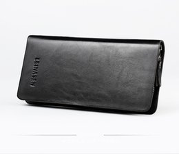 Wholesale Double Long Pillows - Long Wallet Men Wallets Genuine Leather Wallets Double Zipper Wallet Clutch Bag Male Purse Handbags Phone Card Holder