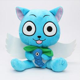 "Wholesale japanese cartoon plush toys - Wholesale-12"" 30cm Kawaii Japanese Anime Cartoon Fairy Tail Happy Plush Toy Blue Happy Cat With Fish Baby Toy Super Quality"