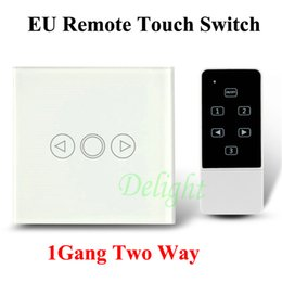 Wholesale Touch Wall Dimmer - Wholesale-Black White UK EU Standard 2Way Tempered Glass Touch Switch Remote Control Dimmer Switch for Wall Lamps With Remote Controller