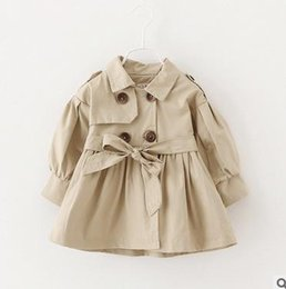 Wholesale Double Breasted Jacket Baby - Girls princess coats toddler kids lapel double-breasted tops girls cotton bows belt long sleeve outercoat 2017 Autumn baby clothes G0320