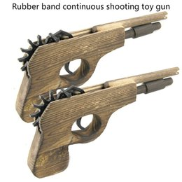 Wholesale Wholesale Wood Models - Wood child Rubber band continuous shooting toy gun