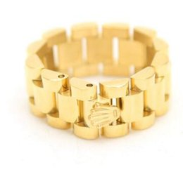 Wholesale 24k Gold Plated Wedding Bands - 24K Gold Plated President Link Style CROWN ring Stainless Steel Hip Hop MELODY EHSANI Band Ring Fashion Chunky Finger Bling 3 Row Men Ring