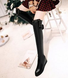 Wholesale Spiked Punk Boots - New Arrival Hot Sale Specials Influx Sweet Girl Sexy Spike Retro Leather Rivets Punk Increased Elastic Stovepipe Wedge Knee Boots EU34-43
