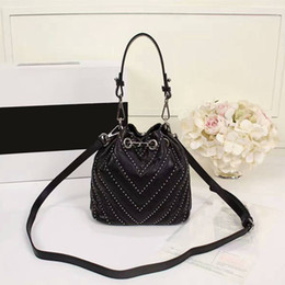 Wholesale Womens Black Leather Shoulder Bags - new arrive striped bucket studs real leather strap handbags classic high quality shoulder bags caviar womens evening bag