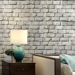 Wholesale Wood Pattern Vinyl - Vintage Imitation Stone Pattern Brick Wall Wallpaper PVC Deep Embossed Waterproof Thickened Vinyl Wallpaper Roll Papel Pintado
