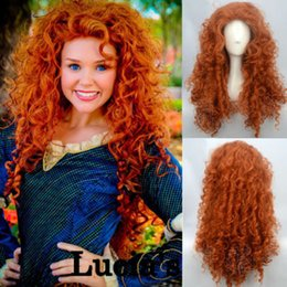 Wholesale Brave Cosplay - HOT !free shipping>Fashion Brave Merida Costume Wig Curly Wavy Orange Hair Cosplay Party Long Wig