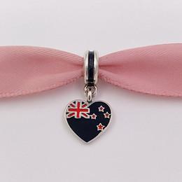Nuovi gioielli della zelanda online-925 Beads Nuova Zelanda Cuore di bandiera appesa Charm Fits europea Pandora collana dei braccialetti di stile per monili che fanno 791511ENMX