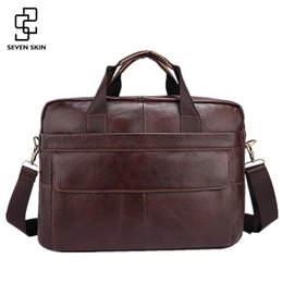Wholesale Bag Mens Cowhide - Wholesale- Famous Brand Genuine Cowhide Leather Mens Business Briefcase Laptop Bags Men's Travel Bag Portfolio Men Shoulder Bag Man Handbag