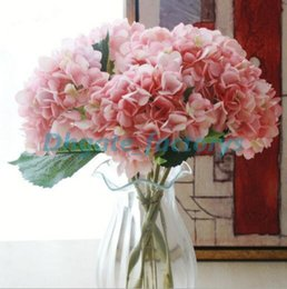 Wholesale Wholesale Artificial Hydrangeas For Wedding - Artificial Hydrangea Flower Head 47cm Fake Silk Single Real Touch Hydrangeas 8 Colors for Wedding Centerpieces Home Party Decorative Flowers