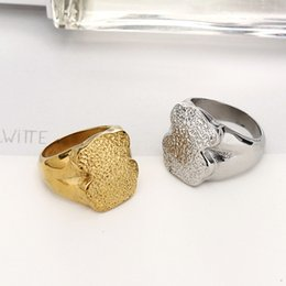 Wholesale Special Wedding Jewelry - Stainless steel bears ring for women excellet quality gold plated special Engrave rough design Rings four sizes brand jewelry oso Anillos