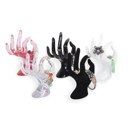 "Wholesale Hands Display Rings - 6.7"" Tall Female Mannequin Free Standing Hand Manekin Ring Bracelet Necklace Jewelry Display Stand Holder Black Velvet OK Finger ZA2938"
