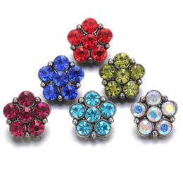 Wholesale Black Metal Earring Hooks - Noosa Rhinestone Flowers Snap Jewelry 18mm snap Metal button Snap Bracelet Earrings Necklaces buttons DIY MAKING
