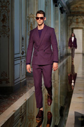 Wholesale Purple Tuxedo Coat - Wholesale- Double Breasted Men Suits Blazer With Pants Bespoke Mariage Homme Wedding Tuxedos Purple Best Man Suits (Coat+Pants+Bow)
