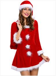 Gute Qualität Weihnachten Kleid Samt Sexy Kostüme Frauen Weihnachten Dessous Langarm Party Cospaly Babydoll mit Hut Frau von Fabrikanten