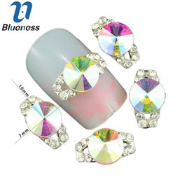 Wholesale Nail Glitters Wholesale - Wholesale-10 Pcs Lot 3D Crystal AB Rhinestones For Beauty Nails Hollow Silver Alloy Studs Supplies DIY Glitter Nail Art Decorations TN1229