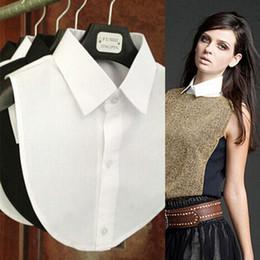 Accesorios de ropa vintage online-2017 Nueva Camisa Sólida Fake Collar Blanco Negro Blusa Vintage Detachable Collares Mujeres Hombres Ropa Accesorios