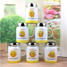 Wholesale Office Mirrors Wholesale - 450ml Creative Emoji Expression Mug Emoji Mirror Cup Personality Mug Fashion Emoji Office Cup CCA7208 60pcs
