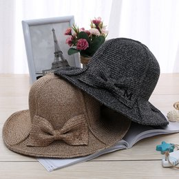 Wholesale Good Sun Hats For Men - Wholesale- [oZyc] High quality 100% good queality Flat Sun Hat Women's bow Straw summer Hats For Women Beach hat chapeau femme boater Gift
