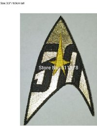 Wholesale Yellow Star Costume - Star Trek Command Insignia 50 Years Gold-Yellow patch Movie TV Series Costume Cosplay Embroidered Emblem Baseball Cap Badge