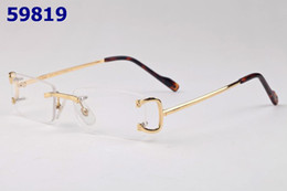 Wholesale Eyeglass Hinges - Luxury Alloy Rimless Gold Silver Eyeglass Frame Women Man Hinged Glasses Frames Buffalo Horn Eyewear Oculos Lunette De Soleil