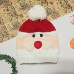 Wholesale Crochet Christmas Santa Hat - New Autumn Winter New Christmas Children Caps Santa Claus Father Christmas kids Knitted Beanie Hat Hand Knitted Caps Beanies Baby Hat A1176
