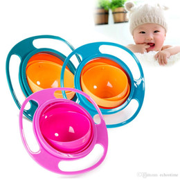 Wholesale Kids Food Boxes Wholesale - hot Universal Gyro Bowl Children's Toddlers Baby Kids Toy Bowl Non Spill Eat Food Snacks Bowl Lunch Box Children Christmas Gifts