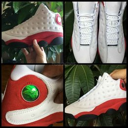 Acheter en ligne Entraîneur de chaussures de basket-ball rétro-2017 Air Retro 13 XIII Chaussures de basket-ball Hommes Rouge Blanc AAA Chaussures Sport Green Cat Eyes Sport Retros 13s Baskets Homme Sneakers 7-13