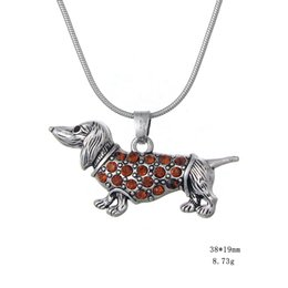 Wholesale Rope Necklaces Materials - Rope Chain Zinc Alloy Material Antique Silver Plated Boho Paving Crystals Dachshund Weenie Dog Necklace