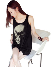 Wholesale Skull Printed Shirt Girl - Wholesale- Hot Fashion Women Gothic Style Individual Punk Skull Printing Asymmetrical Hem Hollow Back Bottom Girl Shirt Tops Tee Shirts