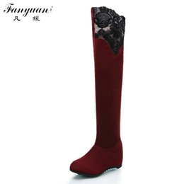 Wholesale Sexy Wedged Heels - Wholesale- 2016 Sexy Casual Wedges High Heel Dress Shoes Warm Fur Long Winter Boots Woman Sexy Solid Over Knee High Slip On Winter Boots