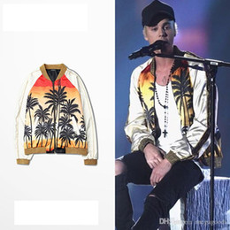 Wholesale Raglan Baseball - Hot Justin Bieber Coconut Palm Beach Print Raglan Sleeve Loose Silk Baseball Jacket Hip Hop Skateboard Sport Coat