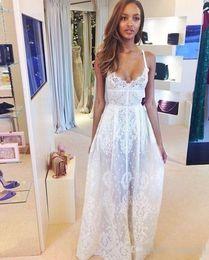 Wholesale Elie Saab Spaghetti Strap Dress - Simple Style Elie Saab Summer Beach Wedding Dresses 2016 Spaghetti Straps Boho A Line Lace Floor Long Bridal Wedding Gowns Custom Made Cheap