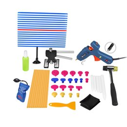 Wholesale Pdr Glue Tabs - PDR Tools Paintless Dent Repair Tool Hot Melt Glue Sticks Glue Gun PDR Reflector Board Puller Tabs Hand Tool Set PDR Toolkit