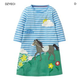 Wholesale Long Sleeve Girls Frock - Autumn Winter Baby Girl Cartoon Dresses Clothes Christmas Costume Kid Tunic Long Sleeve Striped Cartoon Princess Birthday Frock