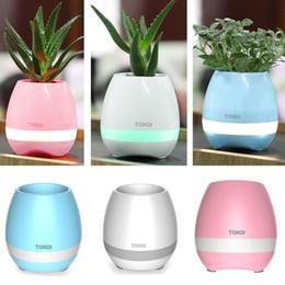 Noite de panela luz on-line-CRESTECH Music Plant Lâmpada Bluetooth flower-pots Hifi Speaker Sem Fio Flowerpot luzes da noite pode planta flores ar sua casa