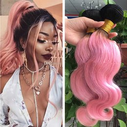 Wholesale 18 Inch Pink Hair Extensions - Two Tone 1B Pink Ombre Remy Human Hair Bundles Great Quality Colored Black and Pink Dark Root Ombre Body Wave Virgin Hair Extensions