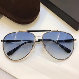 Wholesale Perfect Half - FT0378 Luxury Brand Designer Sunglasses Hot Sales Classic Pilots Frame Perfect Two-Color Plating Reflective Coating Lens High-Grade Glasses