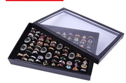 Wholesale Chinese Bangles - 100 Slot Jewelry Display Box High Quality With A Lid Black Velvet Earring Stud Bangle Ring Storage Case Hot Sell 5sr J R