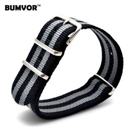 Wholesale 18mm Nylon Watch - Wholesale- Wholesale 18 mm Multi Color Black Grey Army Sports nato fabric Nylon watchband Watch Strap accessories Bands Buckle belt 18mm