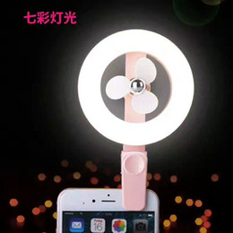 Wholesale Small Fan Led Lights - 2017 New Style Mini portable Small USB Led light Fan Without battery USB small fan luminous light beauty fill light fan multi-purpose type