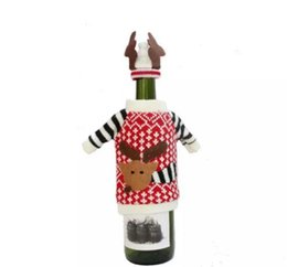 Wholesale Ornament Bottles - Cute Deer Pattern Knitted Cloth with Hat Christmas Wine Bottle Cover For Christmas Decorations