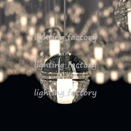 Wholesale Lighted Shower Heads Rain - Pendant Lamp 1 Head LED Crystal Glass Ball Meteor Rain Ceiling Light Meteoric Shower Stair Light Droplight Chandelier Lights