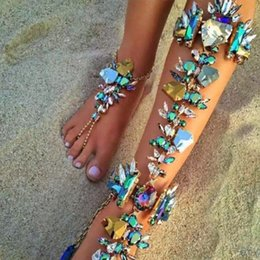 Wholesale Silver Gem Sandals - New Bohemian Vintage Anklet For Women Tassel Gem Foot Jewelry Barefoot Sandal Crystal Multilayer Anklet Beach Wedding Jewelry 1PCS price