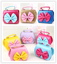 Wholesale Satchels For Kids - 2017 Fashion New Children Baby Girls Bowknot Candy Color Handbags Christmas Gifts Cute Kids Shoulder Princess Bags Satchel For Girl A5824